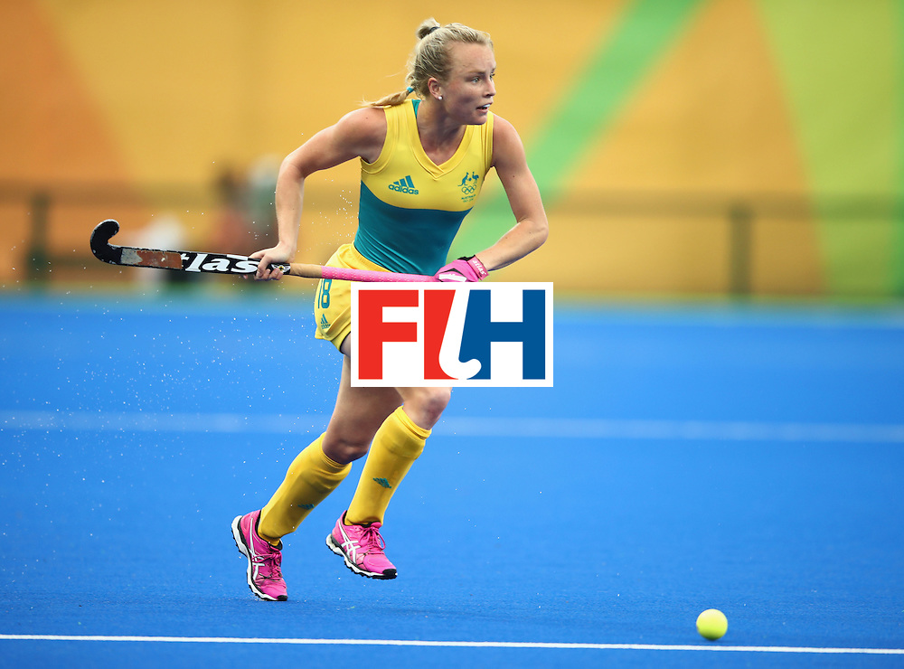 RIO DE JANEIRO, BRAZIL - AUGUST 10:  Jane-Anne Claxton of Australia in action during the Women's Pool B Match between India and Australia on Day 5 of the Rio 2016 Olympic Games at the Olympic Hockey Centre on August 10, 2016 in Rio de Janeiro, Brazil.  (Photo by Mark Kolbe/Getty Images)