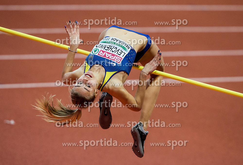 Yuliya Levchenko of Ukraine competes in the High Jump Women Final on day two of the 2017 European Athletics Indoor Championships at the Kombank Arena on March 4, 2017 in Belgrade, Serbia. Photo by Vid Ponikvar / Sportida