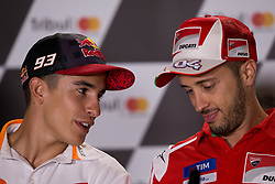 September 7, 2017 - San Marino, RN, Italy - Marc Marquez of Repsol Honda Team and Andrea Dovizioso of Ducati Team during the presentation press conference of the Tribul Mastercard Grand Prix of San Marino and Riviera di Rimini, at Misano World Circuit ''Marco Simoncelli'', on September 07, 2017 in Misano Adriatico, Italy  (Credit Image: © Danilo Di Giovanni/NurPhoto via ZUMA Press)