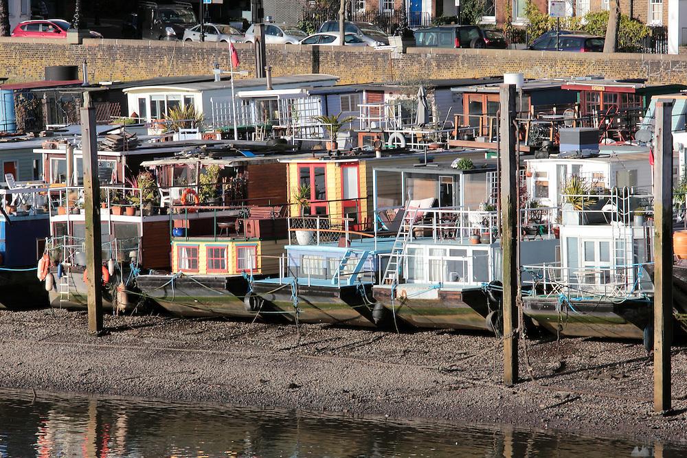 The Chelsea houseboats near Battersea Bridge, Chelsea, London