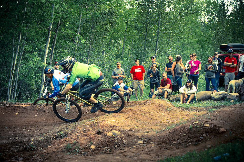 Dual slalom racing during the Marquette Trails Festival in Marquette, Michigan.