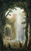 Fountain in the Grove of the Muses at the Chateau de Marly which was built by Louis XIV of France between 1679 and 1684 as a retreat from the Palace of Versailles. Robert Hubert (1733-1808) French Rococo painter.