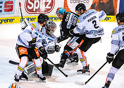 21.02.2020, Keine Sorgen Eisarena, Linz, AUT, EBEL, EHC Liwest Black Wings Linz vs Dornbirn Bulldogs, Zwischenrunde, 7. Qualifikationsrunde, im Bild v.l. Charles Robin Gartner (Dornbirn Bulldogs), Tormann Juha Rasmus Rinne (Dornbirn Bulldogs), Brian Lebler (EHC Liwest Black Wings Linz), Olivier Magnan (Dornbirn Bulldogs) // during the Erste Bank Eishockey League Intermediate round, 7th qualifying round match between EHC Liwest Black Wings Linz and Dornbirn Bulldogs at the Keine Sorgen Eisarena in Linz, Austria on 2020/02/21. EXPA Pictures © 2020, PhotoCredit: EXPA/ Reinhard Eisenbauer