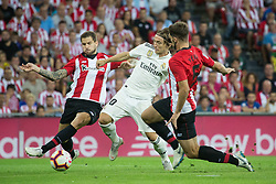 September 15, 2018 - Iñigo Martinez of Athletic Club and Modric of Real Madrid in action during the match played in Anoeta Stadium between Athletic Club and Real Madrid CF in Bilbao, Spain, at Sept. 15th 2018. Photo UGS/AFP7 (Credit Image: © AFP7 via ZUMA Wire)