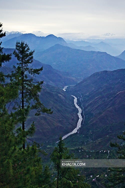 A beautiful scene as seen from the Himalayan Village of Thanedhar, Kotgarh. As we look through the Green Pine Tree, we can see Satluj River flowing in Rampur valley from The Greater Himalayan Range