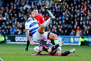Leeds United midfielder Kalvin Phillips (23) challenge gets him sent off during the EFL Sky Bet Championship match between Queens Park Rangers and Leeds United at the Kiyan Prince Foundation Stadium, London, England on 18 January 2020.