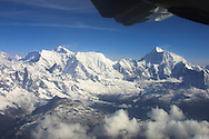 Prop plane flight over the Himalayas, Nepal