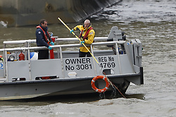 © Licensed to London News Pictures. 29/03/2017. London, UK. The scene where a person has jumped in to the River Thames from Westminster bridge in London. Police are currently in attendance. Photo credit: Peter Macdiarmid/LNP