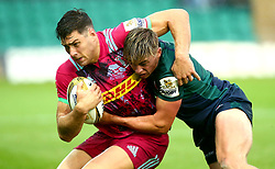 Marcus Smith of Harlequins is tackled by Ollie Hassell-Collins of London Irish - Mandatory by-line: Robbie Stephenson/JMP - 28/07/2017 - RUGBY - Franklin's Gardens - Northampton, England - Harlequins v London Irish - Singha Premiership Rugby 7s