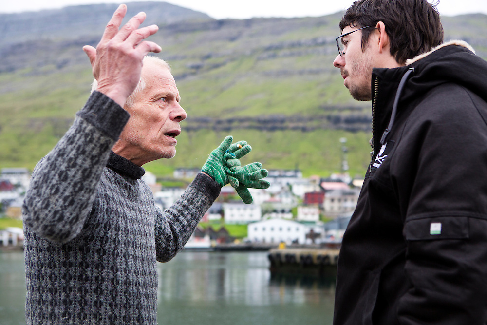 Kristoffer Ragnarson, a local shipworker on the docks at Klaksvik harbor where 236 pilot whales were previously slaughtered, confronts Peter Hammarstedt of Sea Shepherd.  Ragnarson questions SS's actions in the Faroes, and Peter, in his natural stature and response-remains calm, and responds with &quot;You are a rich country now.  You do not need to eat whale meat to survive.&quot;<br /> <br /> Ragnarson retorts:  &quot; I will never stop killing whales. I love meat,&quot; he says, and walks away. <br /> <br /> The Faroese do not understand how Sea Shepherd feels they have the right to be in the Faroes.  &quot;It is our country, what right do you have to come here and tell us what to hunt and what to eat?&quot;<br /> <br /> Klaksvik, Streymoy.  Faroe Islands.