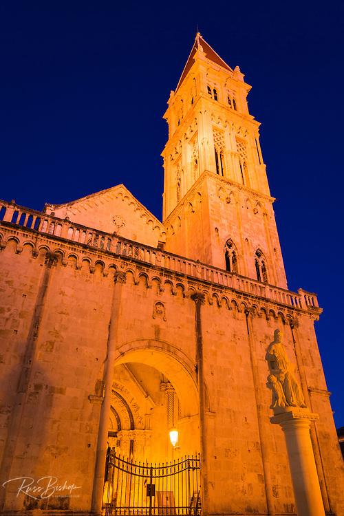 Cathedral of Saint Lawrence at night, Trogir, Dalmatian Coast, Croatia