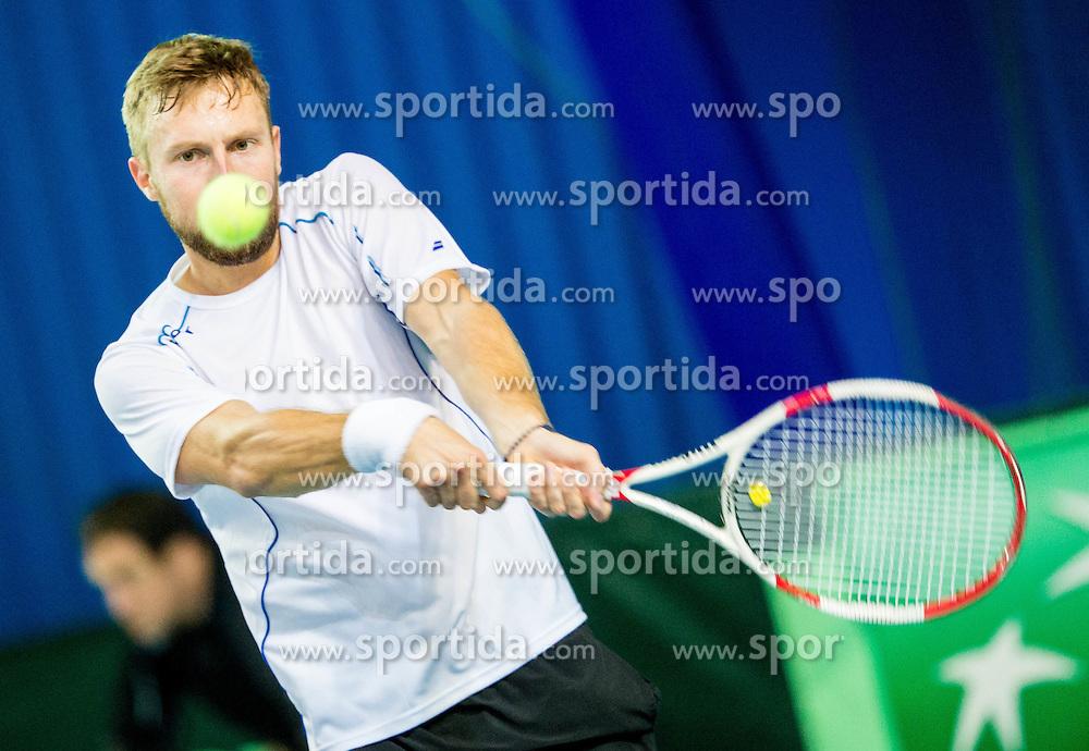 Tom Kocevar Desman during Day 3 at Davis Cup Slovenia vs Lithuania competition, on November 1, 2015 in Kranj, Slovenia. Photo by Vid Ponikvar / Sportida