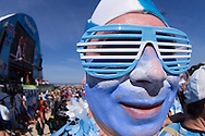 An Argentina fan looks on at the FIFA Fan Fest, Copacabana beach, Rio de Janeiro, during the Argentina v Belgium World Cup quarter final match which was shown on big screens.<br /> Picture by Andrew Tobin/Focus Images Ltd +44 7710 761829<br /> 05/07/2014