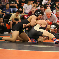 Alexander Escudero of Los Gatos and Robert Piearcy of Cupertino in the 2018 SCVAL Wrestling Finals (160 lb)(Photo by Bill Gerth)