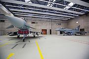 N&ouml;rvenich | Deutschland | 21.03.2016: Besuch vom [BK Angela Merkel] beim Taktischen Luftwaffengeschwader 31 Boelke auf dem Fliegerhorst in N&ouml;rvenich bei K&ouml;ln.<br /> <br /> hier: Kampfflugzeuge vom Typ Eurofighter Typhoon sind in einem Hangar f&uuml;r die Besichtigung durch die BK aufgestellt.<br /> <br /> 20160321<br /> <br /> <br /> [Inhaltsveraendernde Manipulation des Fotos nur nach ausdruecklicher Genehmigung des Fotografen. Vereinbarungen ueber Abtretung von Persoenlichkeitsrechten/Model Release der abgebildeten Person/Personen liegt/liegen nicht vor.] [No Model Release | No Property Release]