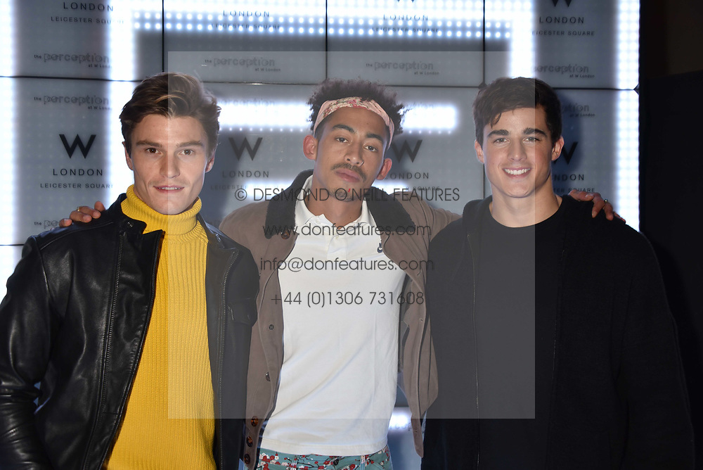 Oliver Cheshire, Jordan Stephens and Pietro Boselli at the official launch of The Perception at W London, 10 Wardour Street, London England. 7 November 2017.<br /> Photo by Dominic O'Neill/SilverHub 0203 174 1069 sales@silverhubmedia.com