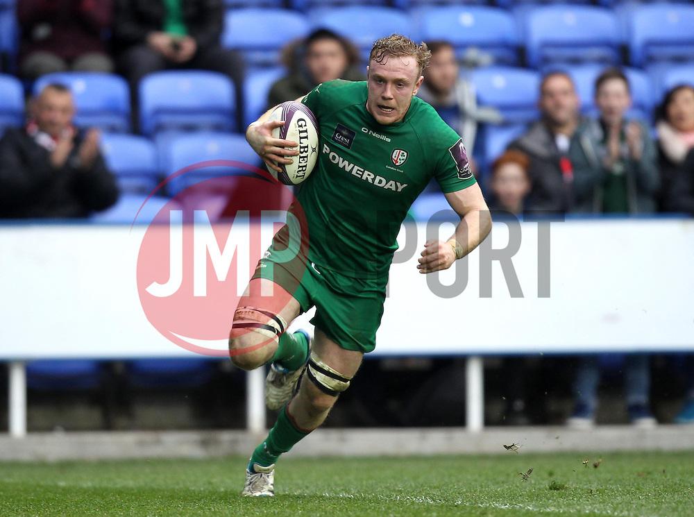London Irish's Conor Gilsenan scores a try - Photo mandatory by-line: Robbie Stephenson/JMP - Mobile: 07966 386802 - 05/04/2015 - SPORT - Rugby - Reading - Madejski Stadium - London Irish v Edinburgh Rugby - European Rugby Challenge Cup