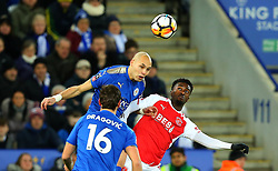 Yohan Benalouane of Leicester City challenges Jordy Hiwula of Fleetwood Town to a header - Mandatory by-line: Robbie Stephenson/JMP - 16/01/2018 - FOOTBALL - King Power Stadium - Leicester, England - Leicester City v Fleetwood Town - Emirates FA Cup third round proper