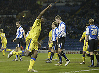Photo: Aidan Ellis.<br /> Sheffield Wednesday v Cardiff City. Coca Cola Championship. 09/11/2005.<br /> Cardiff's Cameron Jerome salutes his first goal and teams second