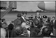Mikhail Gorbachev Visits Ireland.  (R99)..1989..02.04.1989..04.02.1989..2nd April 1989..As part of a European tour Russian President,Mikhail Gorbachev visited Ireland today. As the architect of 'Glasnost' ,a softening of Russian opression,he was warmly welcomed on his arrival at Shannon Airport...Image shows An Taoiseach,Charles Haughey,.welcoming the Russian President, Mikhail.Gorbachev to Ireland.
