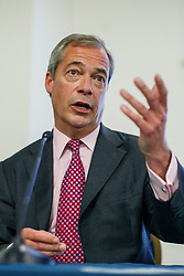 © Licensed to London News Pictures. 22/06/2016. London, UK. UKIP Leader NIGEL FARAGE makes his final speech of the EU Referendum Campaign on Wednesday, 22 June 2016 at Emmanuel Centre in London ahead of the EU Referendum. Photo credit: Tolga Akmen/LNP