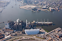 Baltimore Harbor Aerial Image of Ship at DOmino Sugar the Simon Schulte