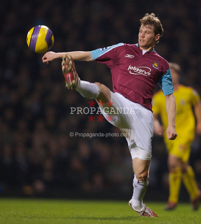 London, England - Tuesday, January 30, 2007: West Ham United's Jonathan Spector in action against Liverpool during the Premiership match at Upton Park. (Pic by David Rawcliffe/Propaganda)