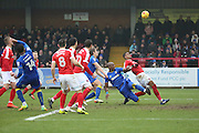 Wimbledon chance during the EFL Sky Bet League 1 match between AFC Wimbledon and Charlton Athletic at the Cherry Red Records Stadium, Kingston, England on 11 February 2017. Photo by Matthew Redman.