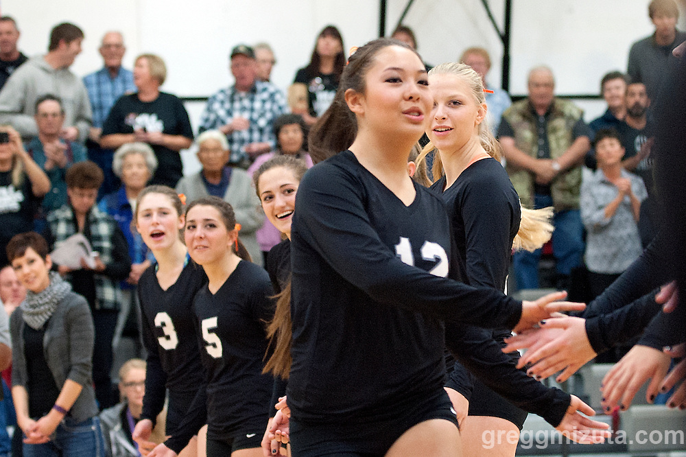 Vale junior Hannah &quot;The Terminator&quot; Mizuta is introduced before the start of the 2015 OSAA 3A Volleyball State Championship, Round 1, Vale - St. Mary's at  Vale High School, Vale, Oregon. October 31, 2015.<br />