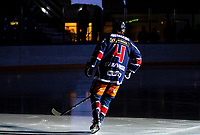 2020-01-22   Kallinge, Sweden: Krif hockey (4) Jesper Solomon Frisell during the intro during the game between Krif hockey and Halmstad Hammers at Soft Center Arena (Photo by: Jonathan Persson   Swe Press Photo)<br /> <br /> Keywords: kallinge, Ishockey, Icehockey, hockeyettan, allettan södra, soft center arena, krif hockey, halmstad hammers (Match code: krhh200122)