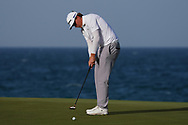 Sami Valimaki (FIN) lines up his putt on the 18th during Round 4 of the Oman Open 2020 at the Al Mouj Golf Club, Muscat, Oman . 01/03/2020<br /> Picture: Golffile   Thos Caffrey<br /> <br /> <br /> All photo usage must carry mandatory copyright credit (© Golffile   Thos Caffrey)