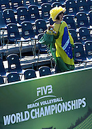 STARE JABLONKI POLAND - July 4: Fan of Brazil in action during Day 4 of the FIVB Beach Volleyball World Championships on July 4, 2013 in Stare Jablonki Poland.  (Photo by Piotr Hawalej)