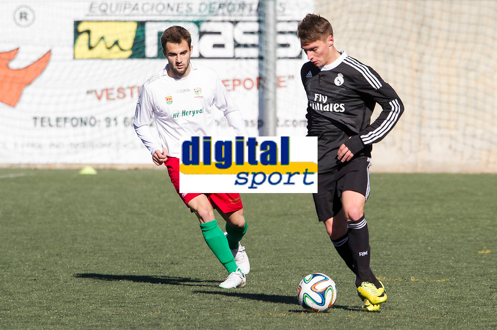 Trival Valderas's Altares and Real Madrid Castilla´s  Marcos Llorente during 2014-15 Spanish Second Division B match between Trival Valderas and Real Madrid Castilla at La Canaleja stadium in Alcorcon, Madrid, Spain. February 01, 2015. (ALTERPHOTOS/Luis Fernandez)