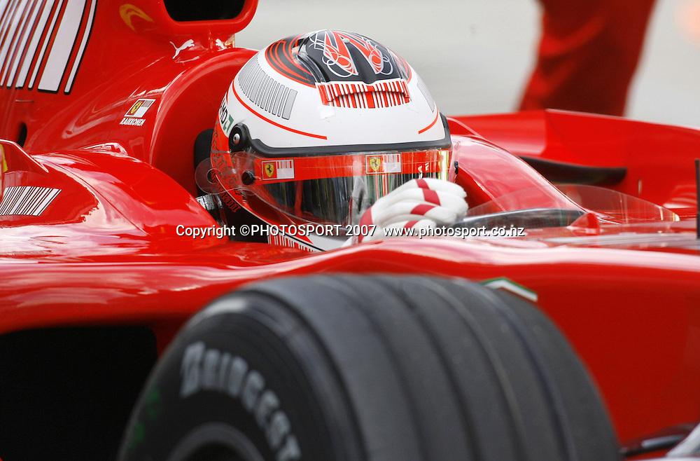Kimi Raikkonen in action for Ferrari during the Australian Formula 1 Grand Prix at Melbourne, Australia on Sunday 18 March 2007. Photo: Panoramic/PHOTOSPORT #NO AGENTS#<br /> <br /> <br /> 180307 *** Local Caption ***