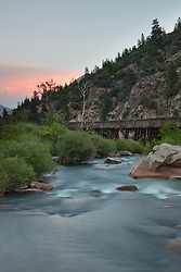 """Truckee River Sunset 1"" - Photograph taken at sunset of the Truckee River near the California and Nevada boarder. The Truckee River flume is visible."