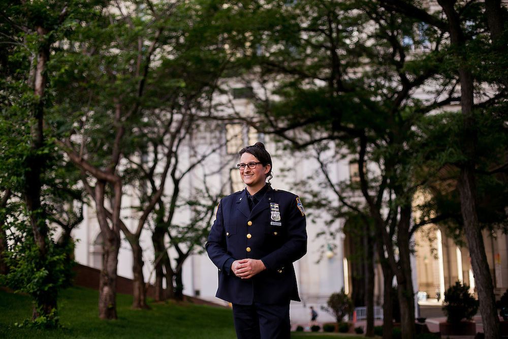 NEW YORK, NY - JUNE 22, 2016: NYPD police officer Brooke Bukowski poses for a portrait near One Police Plaza in New York, New York. CREDIT: Sam Hodgson for The New York Times.