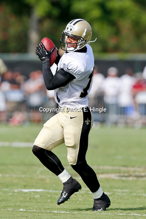 Aug 3, 2013; Metairie, LA, USA; New Orleans Saints wide receiver Chris Givens (17) catches a pass during a scrimmage at the team training facility. Mandatory Credit: Derick E. Hingle-USA TODAY Sports