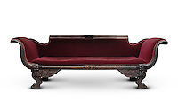 Antique victorian wooden dark red sofa isolated silhouette with clipping path on white background