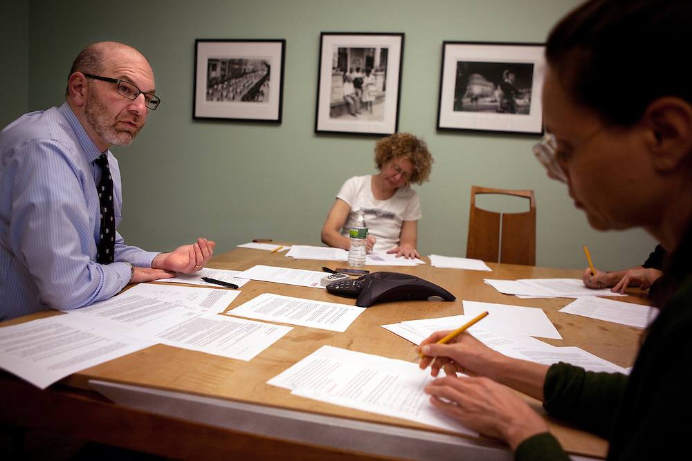 Craig Gurian, left, an attorney from The Anti-Discrimination Center who brought a fair housing lawsuit against Westchester County, works with colleagues Lori Bikson, center, and Heather Rogers, right, in his office in New York, NY on October 23, 2012.