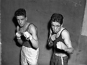 National Junior Boxing Championships.18/12/1952<br /> On left is Pte. E. O'Connor (Portobello) 5th Battalion, Flyweight winner.<br /> S. Cannon (Corinthians) Flyweight runner-up.