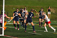 White Mountain's 6/Eastman blocks a goal attempt made by Laconia's Maeghan Ash during NHIAA Division III Field Hockey on Wednesday.  (Karen Bobotas/for the Laconia Daily Sun)