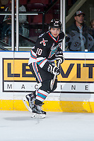 KELOWNA, CANADA - OCTOBER 24: Nick Merkley #10 of Kelowna Rockets skates against the Calgary Hitmen on October 24, 2015 at Prospera Place in Kelowna, British Columbia, Canada.  (Photo by Marissa Baecker/Shoot the Breeze)  *** Local Caption *** Nick Merkley;