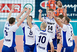 Team Zenit Kazan celebrate during volleyball match between ACH Volley (SLO) and Zenit Kazan (RUS) in Playoffs 12 Round of 2011 CEV Champions League, on February 2, 2011 in Arena Stozice, Ljubljana, Slovenia. (Photo By Matic Klansek Velej / Sportida.com)