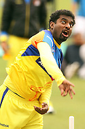 Muthiah Muralitharan of the Chennai Super Kings sends down a delivery during the Superkings  training session held at St Georges Park in Port Elizabeth on the 17 September 2010..Photo by: Shaun Roy/SPORTZPICS/CLT20