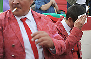 BEA AHBECK/NEWS-SENTINEL<br /> Amadores de Ramo Grande de Terceira's Cesar Pires collects himself after several attempts to grab the bull, which was successful with persistance during the bloodless bullfight during the Our Lady of Fatima Portuguese Festival in Thornton Saturday, Oct. 15, 2016.