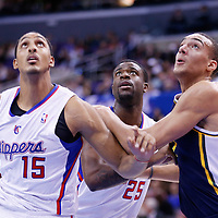 23 October 2013: Utah Jazz center Rudy Gobert (27) vies for the rebound with Los Angeles Clippers center Ryan Hollins (15) and Los Angeles Clippers shooting guard Reggie Bullock (25) during the Los Angeles Clippers 103-99 victory over the Utah Jazz at the Staples Center, Los Angeles, California, USA.