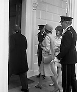 President Childers Inaugerated     (F26)..1973..25.06.1973..06.25.1973..25th June 1973..After his inaugeration President Childers returned to take up residence in Áras an Uachtaráin,Phoenix Park, Dublin..Image of President and Mrs Childers entering what will be their home for the next seven years. Nessa childers follows her mother and father.