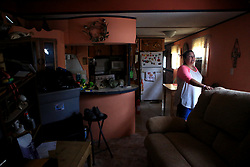 Darlene Vasquez returned to what was going to be a retirement home to survey the damage on Monday, August 28, 2017 in Fulton, Texas, USA near Bronte Street. She said she had been unable to find information so she and her husband decided to come check out the trailer and her mother's trailer themselves.<br /> Photo by Rachel Denny Clow/Corpus Christi Caller-Times/TNS/ABACAPRESS.COM