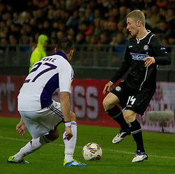 20.10.2011, UPC Arena, Graz, AUT, UEFA Europa League, Sturm Graz (AUT) vs RSC Anderlecht (BEL), im Bild Florian Kainz (SK Sturm Graz, #14, Midfield) und Marcin Wasilewski (RSC Anderlecht, Defense, #27) // during UEFA Europa League football game between Sturm Graz (AUT) and RSC Anderlecht (BEL) at UPC Arena in Graz, Austria on 20/10/2011. EXPA Pictures © 2011, PhotoCredit: EXPA/ E. Scheriau