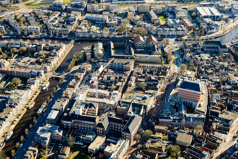 Nederland, Friesland, Leeuwarden, 28-02-2016;  binnenstad met Provinciehuis.<br /> City centre Leeuwarden.<br /> <br /> luchtfoto (toeslag op standard tarieven);<br /> aerial photo (additional fee required);<br /> copyright foto/photo Siebe Swart